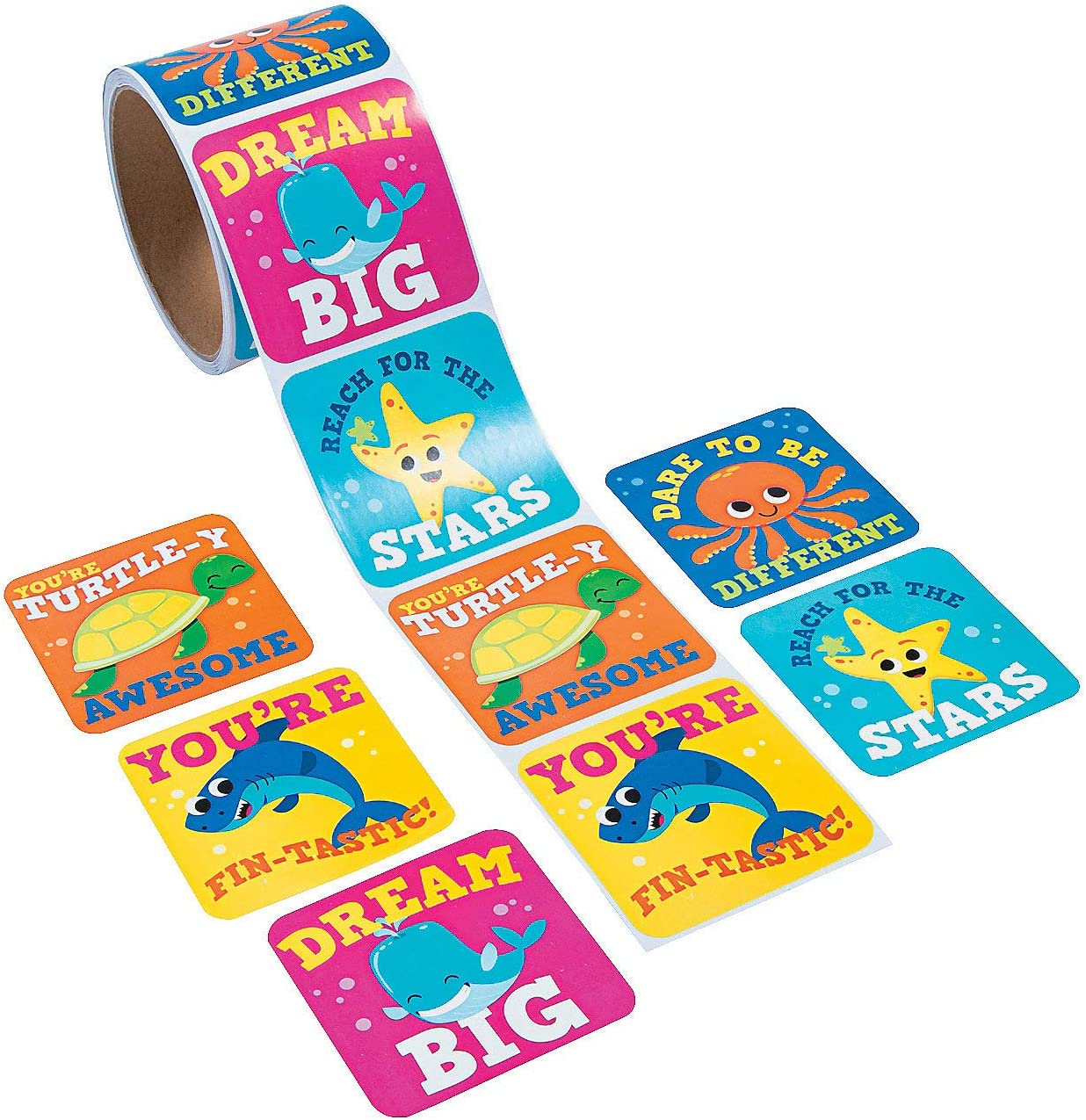 Fun Express Under The Sea Jumbo Roll Stickers - 100 Pieces - Educational and Learning Activities for Kids