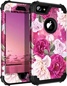 Casetego Compatible with iPhone 8 Case,iPhone 7 Case,Floral Three Layer Heavy Duty Hybrid Sturdy Shockproof Full Body Protective Cover Case for Apple iPhone 8/7,Rose Red/Black