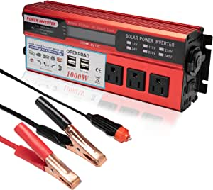 OPENROAD 1000W Power Inverter, Truck/RV Inverter 12V DC to 110V AC Converter, with 3 AC Outlets 4 2.4A USB and 12V Car Cigarette Lighter, with Display car Inverter (Red 1000W)