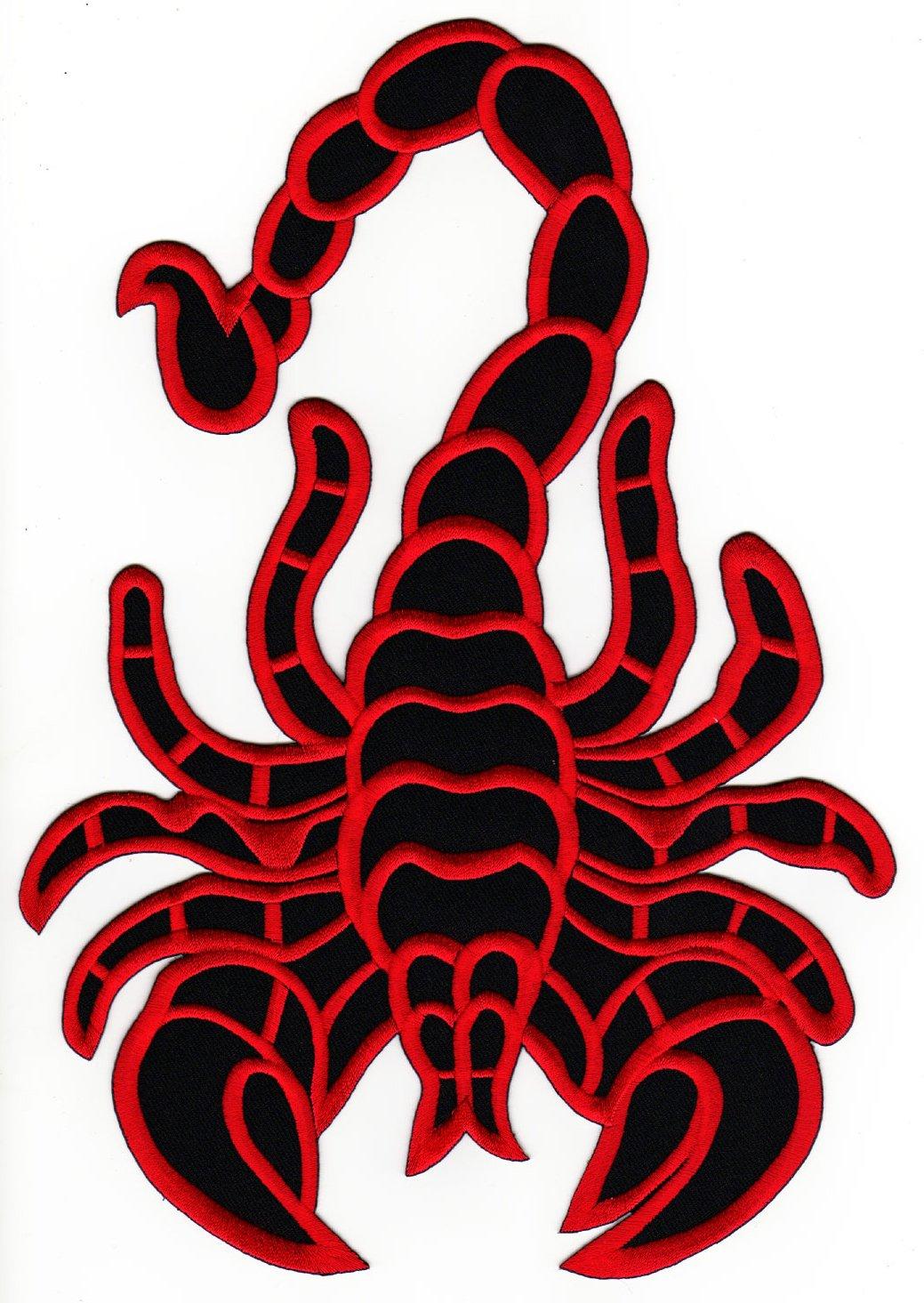 Skorpion Backpatch Rü ckenaufnä her Biker Weste Kleidung Kutte Scorpion ca. 20 x 28 cm Bestellmich.com