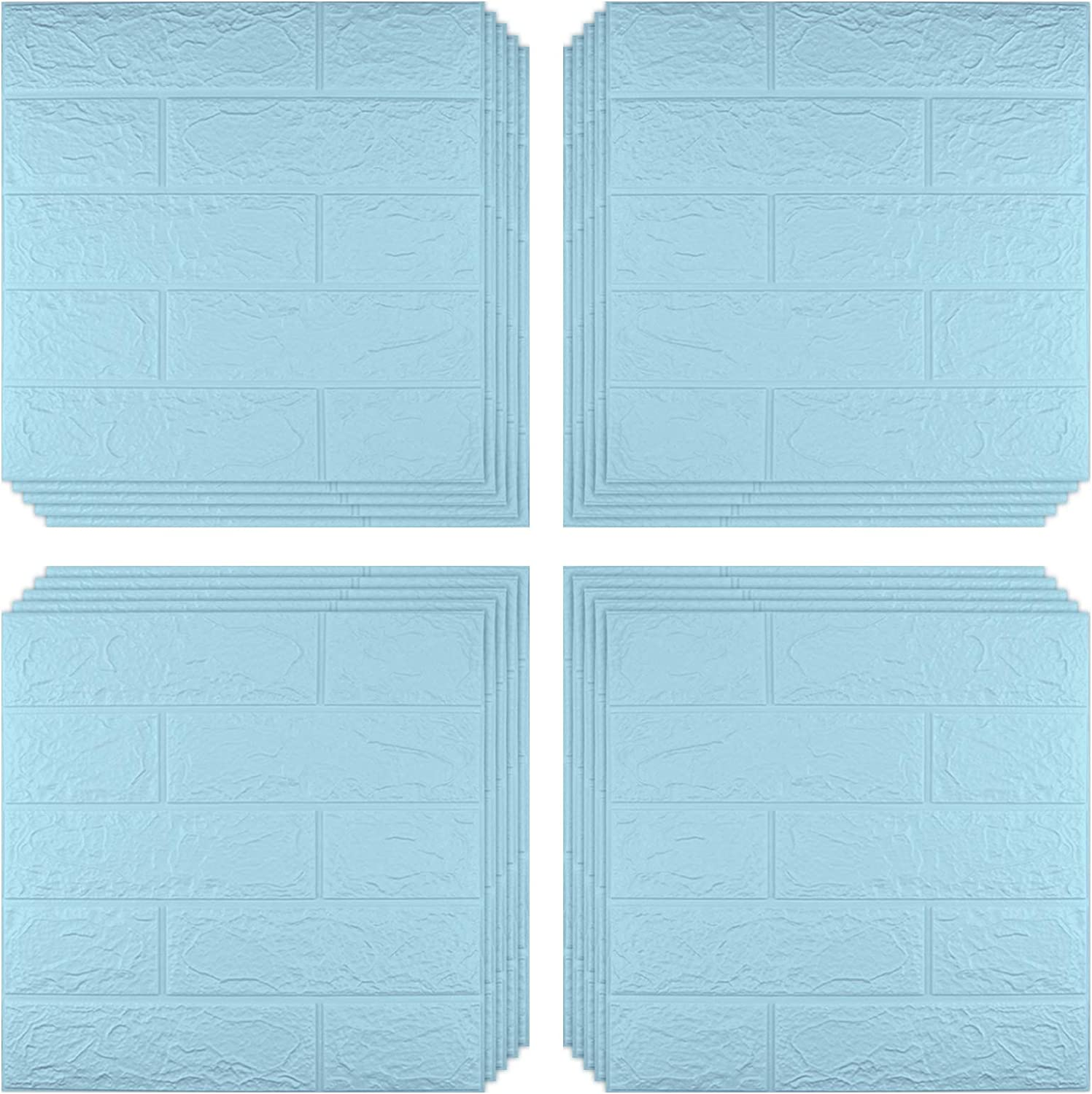 Sodeno White 3D Wallpaper, 20 Pack 3D Wall Panels 3D Brick Self-Adhesive Waterproof PE Foam Wallpaper for Interior Wall Tile Decor, TV Wall,Bathroom, Living Room Home Decoration-Blue