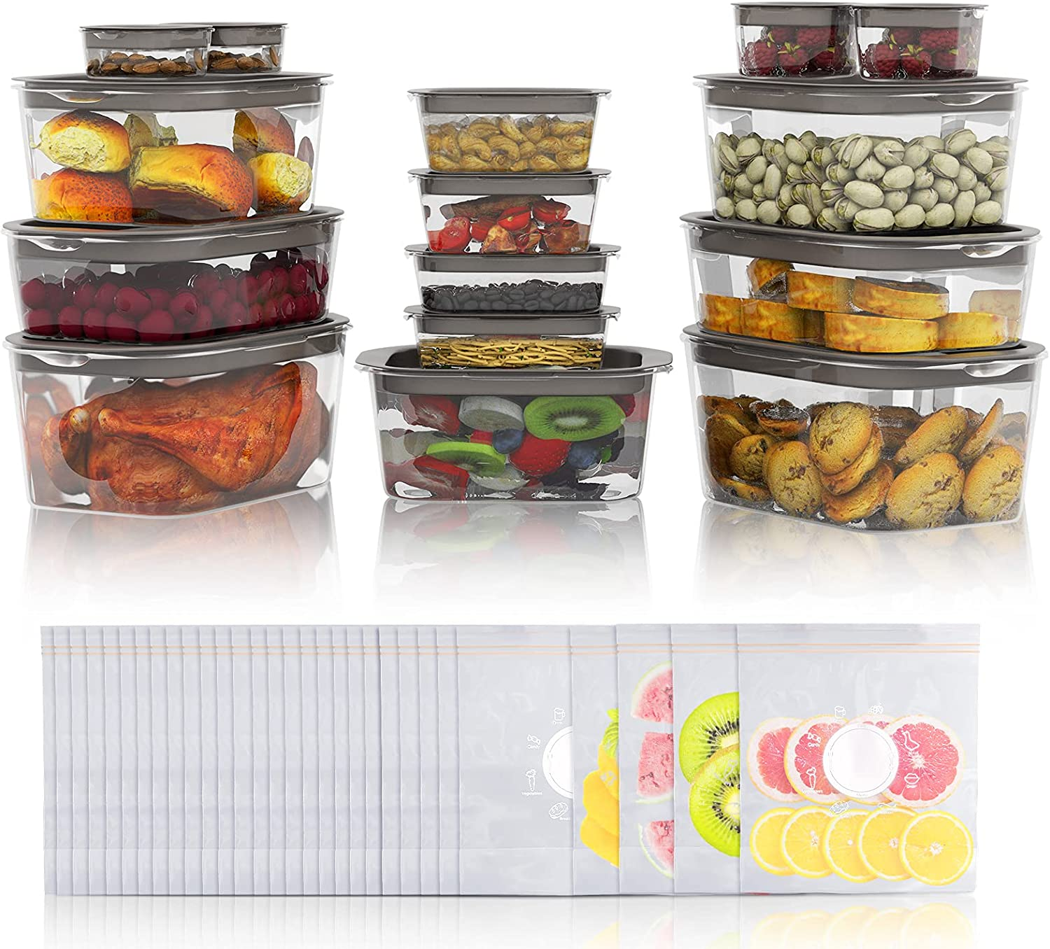 60-Piece Food Storage Containers Set (15 Pack Food Grade Storage Containers with Lids + 30 Pack Reusable Food Storage Bags), BPA Free Food Storage Boxes for Fridge, Microwave/Dishwasher/Freezer Safe