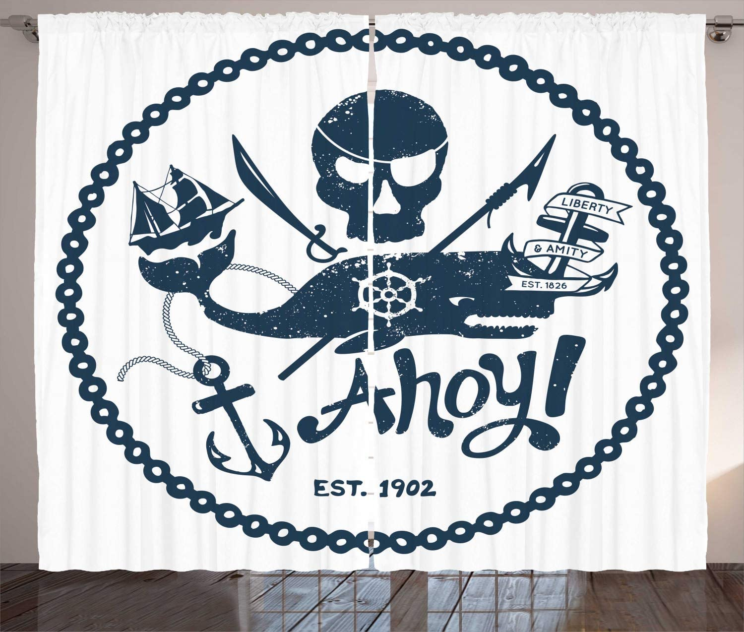 Ambesonne Anchor Curtains, Vintage Style Nautical Pirate Skull and Whale Design Ship Marine Image, Living Room Bedroom Window Drapes 2 Panel Set, 108