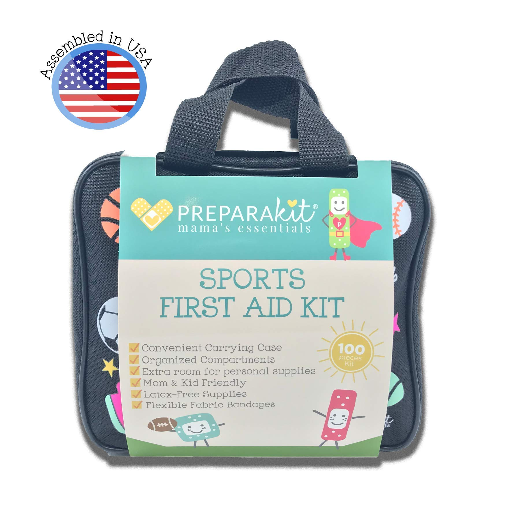 PreparaKit Sports First Aid Kit - Mom First Aid Kits! Complete Kit with 100 Essential Supplies - Large First Aid Kit for Kids Sports, Travel, Emergency, Camping, Hiking, Car, or Home by PreparaKit