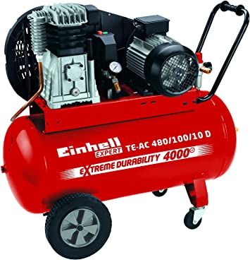 Einhell Kompressor Te Ac 480 100 10 D 3 0 Kw 100 L Ansaugleistung 480 L Min 10 Bar ölgeschmiert Riemenantrieb Große Räder Und Haltebügel Baumarkt