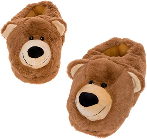 NEW Toddler BoysPlush Dog Face Slippers in Brown
