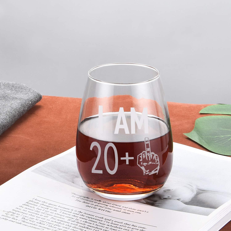 Stemless Wine Glass 40th Birthday I Am 39 Plus Funny Stemmed