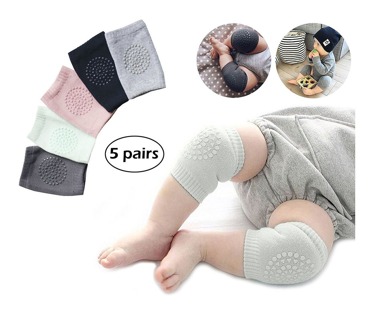 5 Pair Baby Knee Pads, Crawling Anti-Slip Knee for Unisex Baby Toddlers by CASAFE