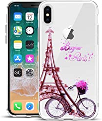 Girlscases® | iPhone XS Hülle, iPhone X/10 Hülle Paris Schutzhülle aus Silikon mit Paris Aufdruck/Motiv Glänzend | Farbe: Lila/Pink / Rosa |