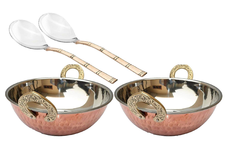 Bona fide カダイ 2個パック インディアン 中華鍋 銅底 ステンレススチール 銅皿 食卓 インド料 ダール カリー カライ カダイウォック ボウル 直径 5個 サービングスプーン 7インチ   B07JFDV8ST