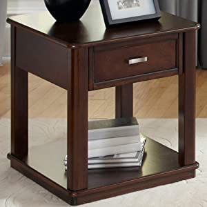 Liberty Furniture Industries Wallace Occasional End Table, W22 x D26 x H24, Dark Brown