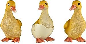 JORAE Ducks Statue Yard Garden Decorations Set of Three, Ducklings Ornament Animal Outdoor Statue, 5 Inch, Polyresin