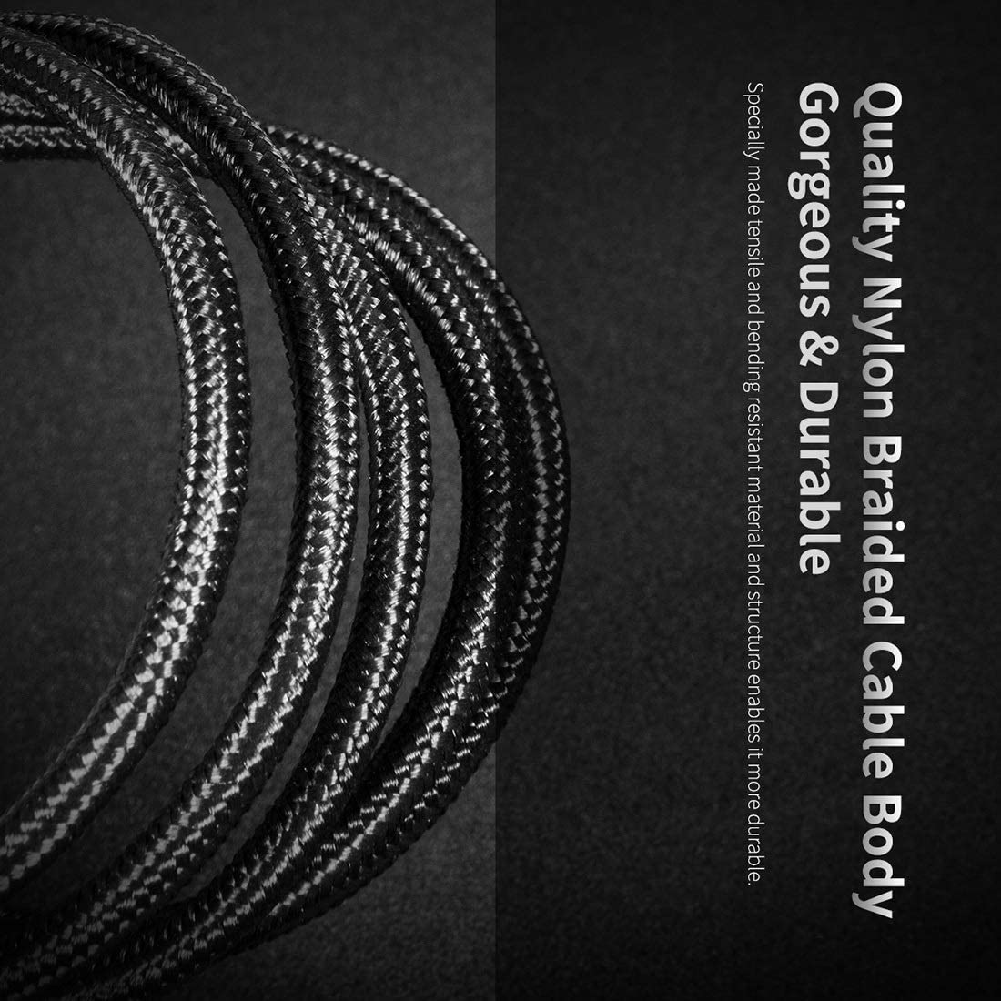 Color : Black Length: 100cm JIANGNIUS Cable Z10 3A Type-C//USB-C Hi-tensile Sync Round Charging Cable Black