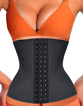 e06cf91b61 Amazon.com  Kimikal Women Latex Waist Trainer Underbust Steel Boned Corset   Clothing