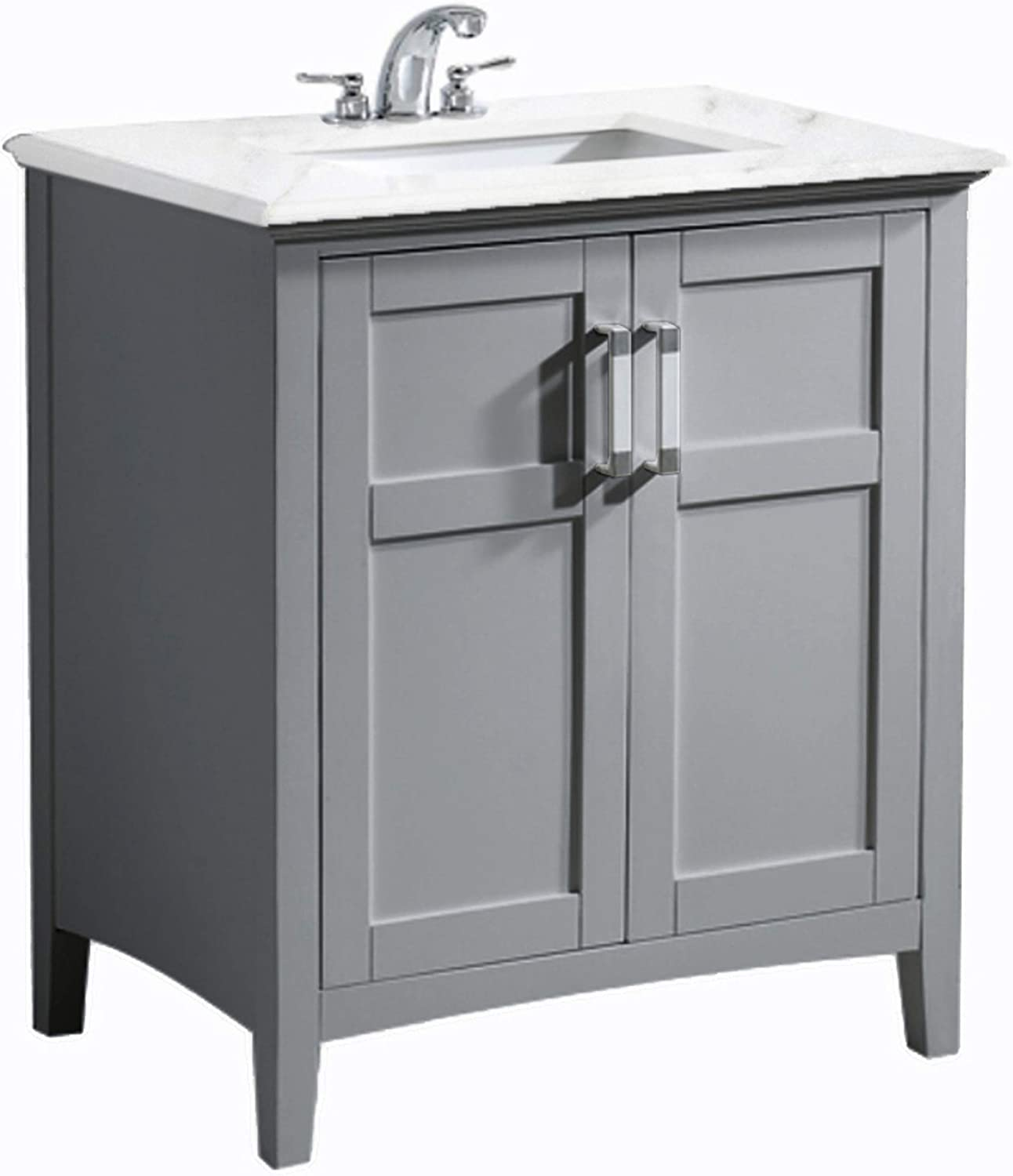 SIMPLIHOME Winston 30 inch Contemporary Bath Vanity in Warm Grey with Bombay White Engineered Quartz Marble Extra Thick Top
