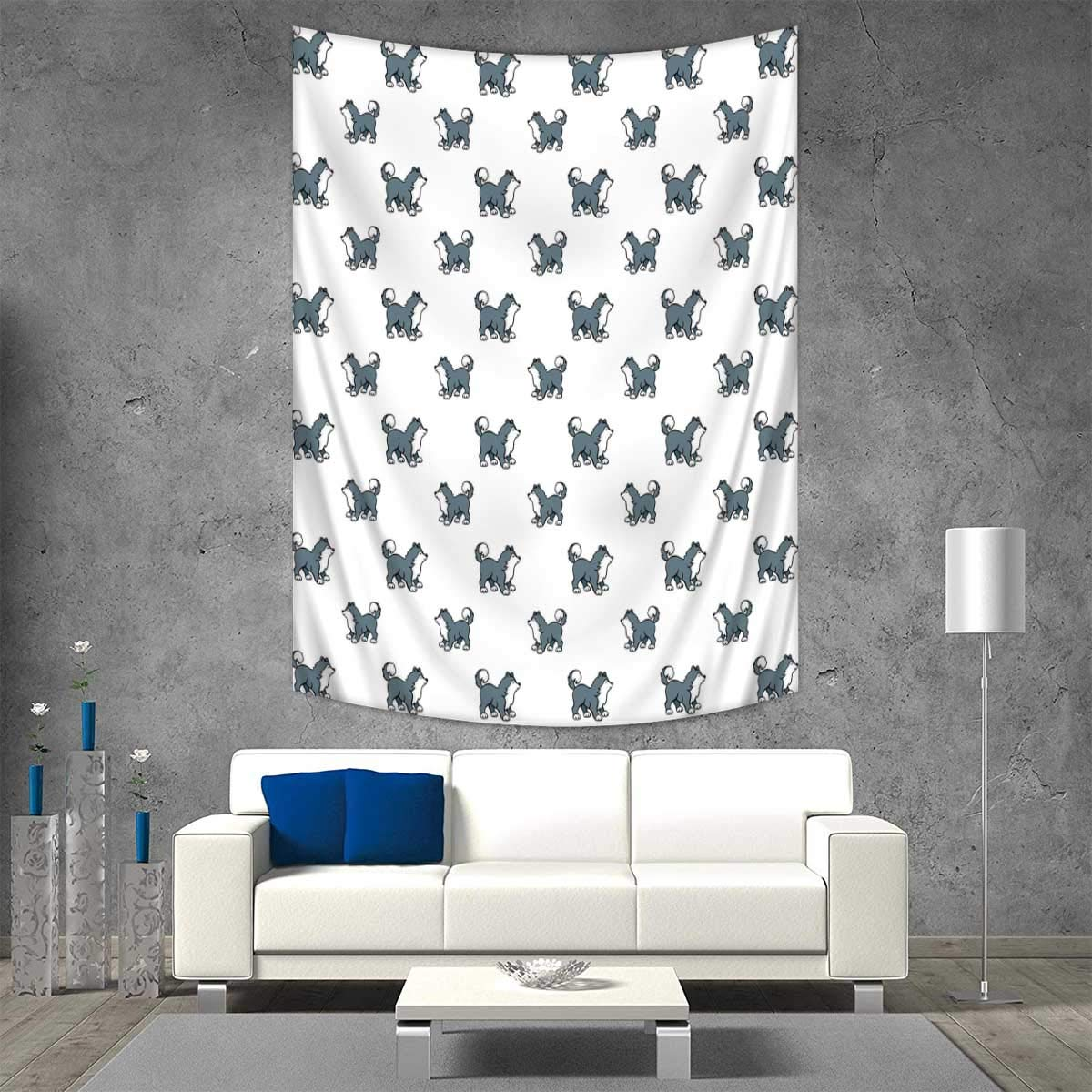 color18 54W x 84L INCH color18 54W x 84L INCH Anhuthree Dog Wall Tapestry Husky Puppy Siberian Energetic Pet Alaskan Origin Sketch Style Cartoon Cold Home Decorations Living Room Bedroom 54W x 84L INCH bluee Grey Black White