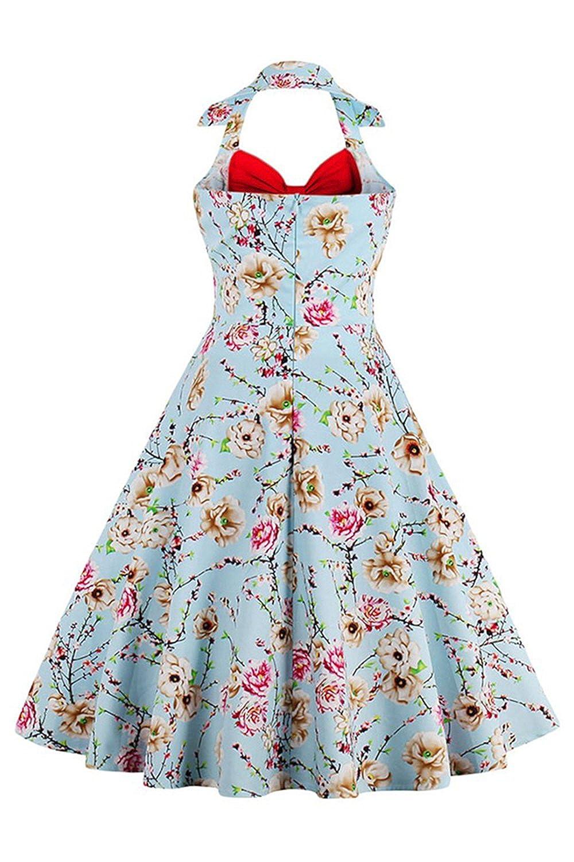 Damen 50er Jahre Vintage-Kleid Neckholder Ärmellos Knielang Retro  Faltenkleid MisShow Gr.S-4XL: Amazon.de: Bekleidung