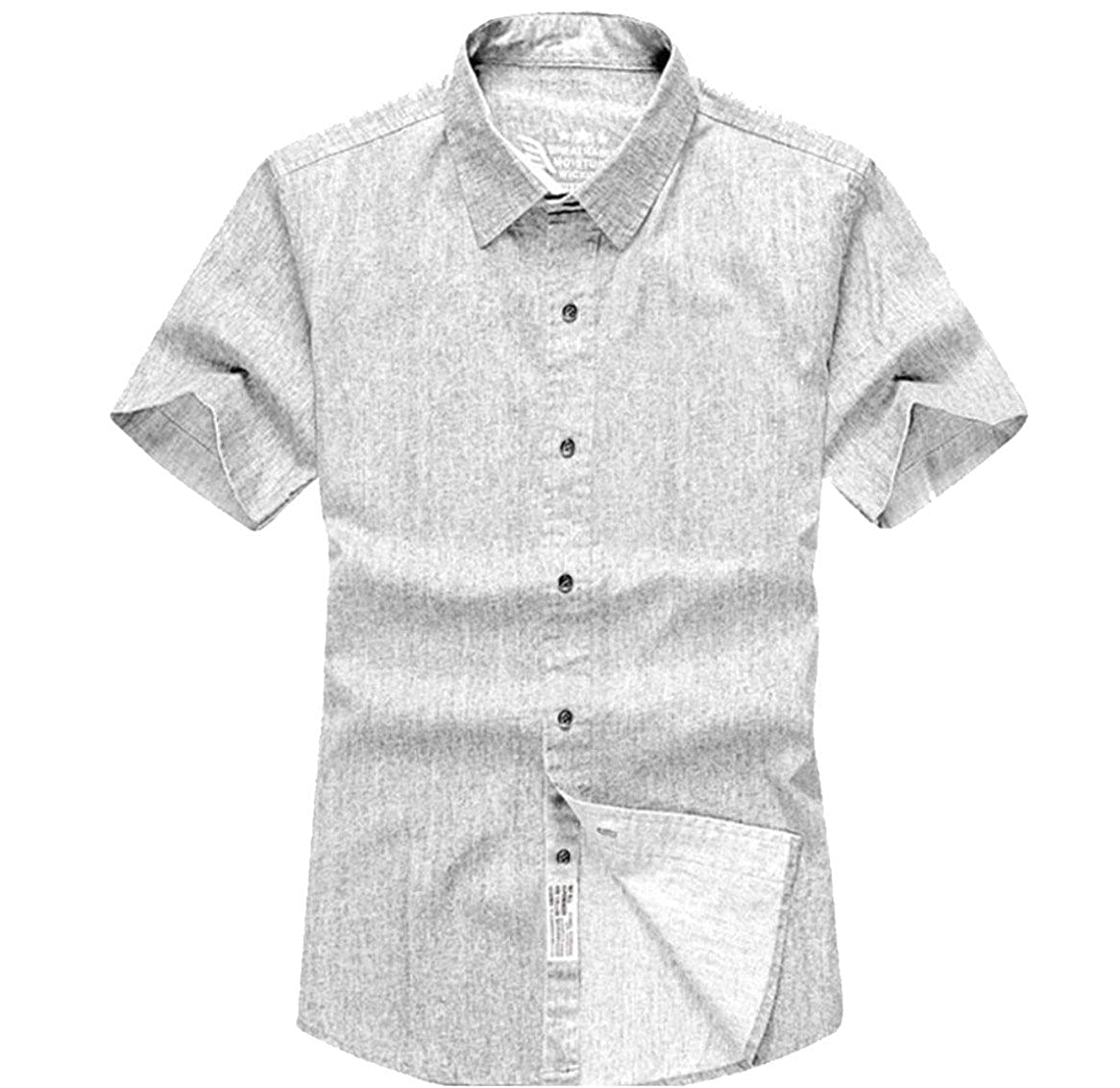 Qiangjinjiu Mens Lapel Short Sleeve Button Down Cotton Solid Color Plus-Size Dress Shirt