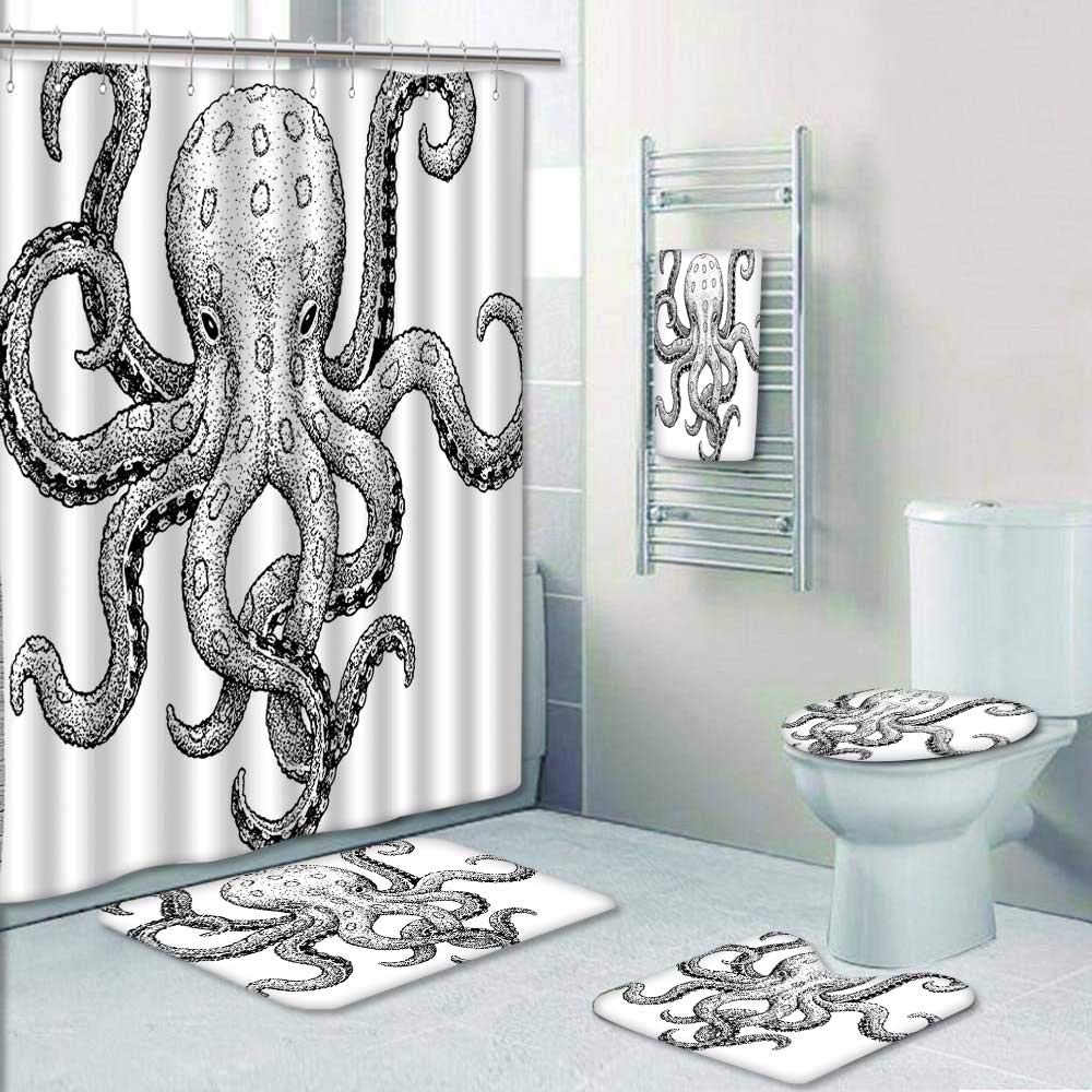 AmaPark 5 Piece Bath Set:1 Large Bat Mat 1 Contour Mat 1 Bath Towel,Sketch Style Print of Deadly Blue Ringed Octopus Camouflage Marine Animal Aquatic Decor Pattern Printing Suit