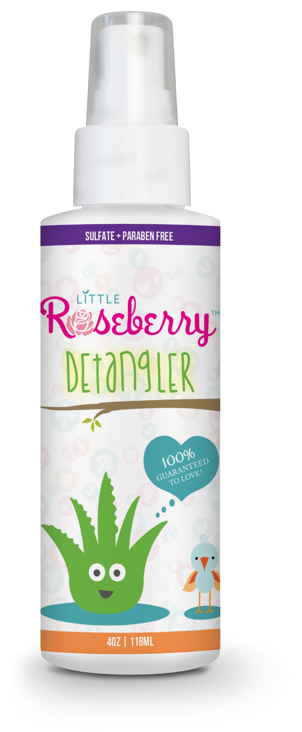 Hair Detangler Spray for Kids. Made with Organic Aloe Vera Juice and Natural Vitamins to Hydrate. Organic Detangler and Leave In Conditioner for Children & Adults. No Chemicals or Fragrance. USA Made. by Little Roseberry