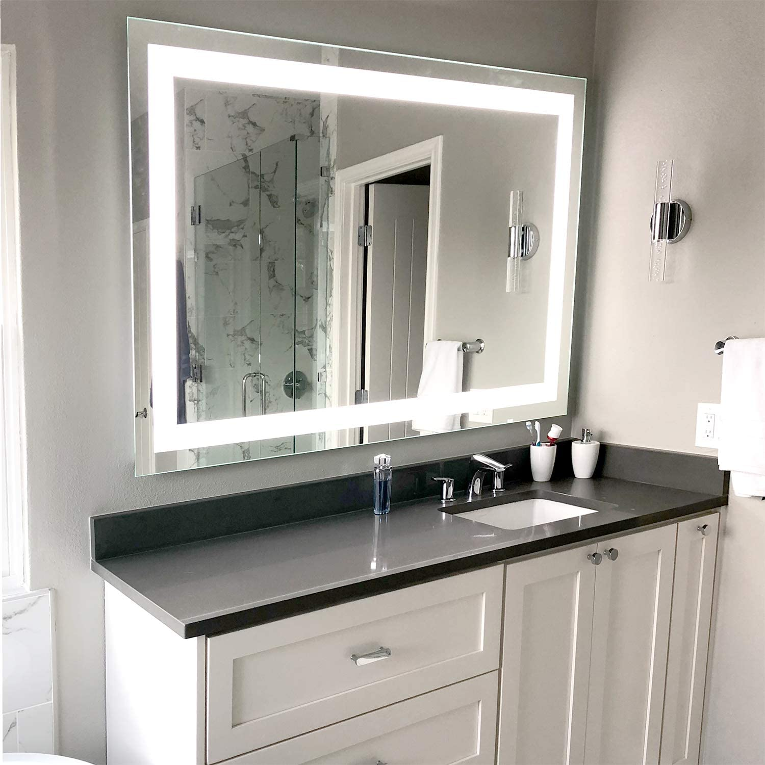 Amazon Com Led Front Lighted Bathroom Vanity Mirror 48 Wide X 36 Tall Commercial Grade Rectangular Wall Mounted Kitchen Dining