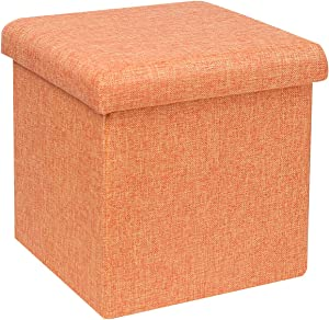 "B FSOBEIIALEO Storage Ottoman Cube, Linen Small Coffee Table, Foot Rest Stool Seat, Folding Toys Chest Collapsible for Kids Orange 11.8""x11.8""x11.8"""