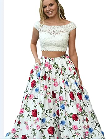 BRL MALL Womens Scoop Floral Printed Wedding Prom Dress Evening Party Gown Red 02