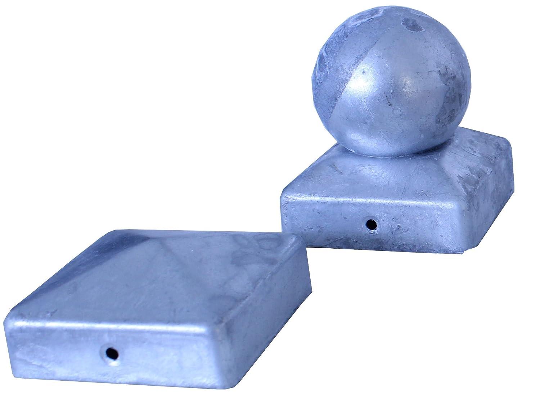 Pfostenkappe feuerverzinkt mit Kugel f/ür Pfosten 9x9 cm inkl VA-Schrauben Zaunkappe verzinkt DD
