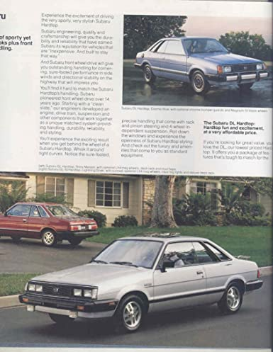 Amazon.com: 1984 Subaru DL GL GL10 4WD Wagon Turbo Brat Large Brochure: Entertainment Collectibles