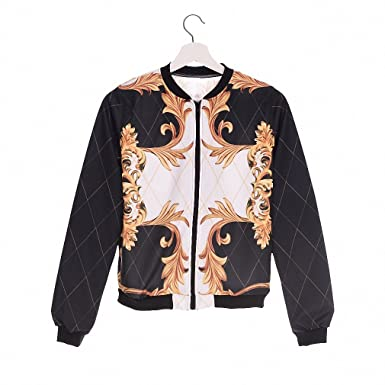 Fashion Women Bomber Jacket Printing Baroque style Chaquetas Mujer Fashion Slim Outwear ackets Basic Coats jka36059