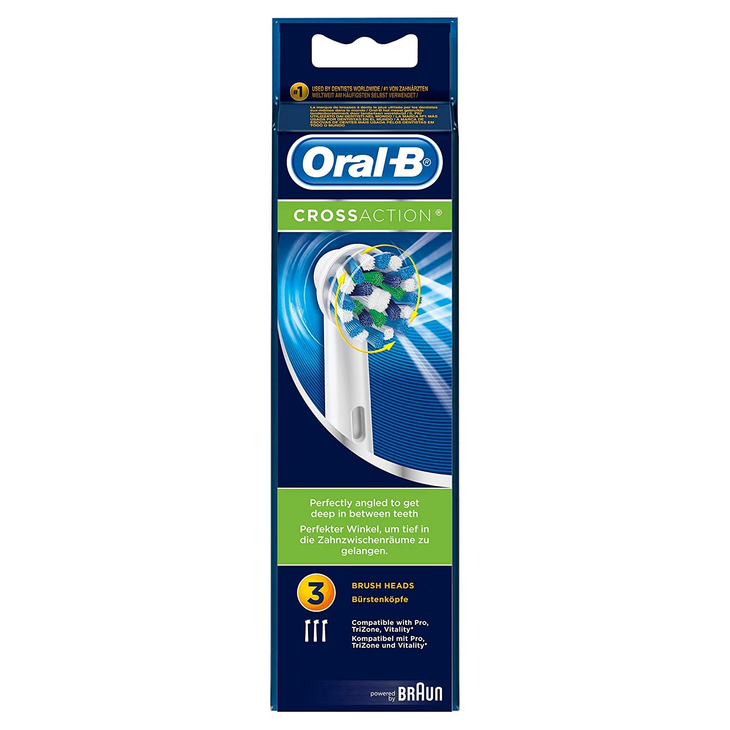 Oral-B Cross Action Electric Toothbrush Replacement Brush Heads Refill, Count (2)