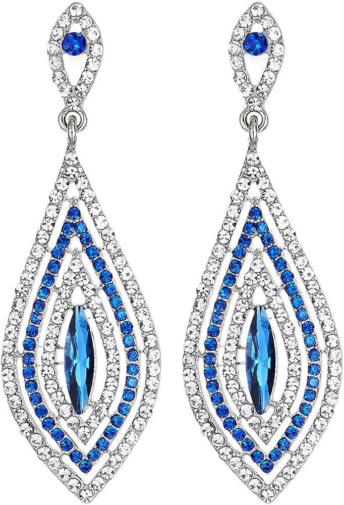 Boda Fiesta Prom Rhinestones Azul Cristal Cluster Forma de Diamante Grande Colgantes Statement Declaración Pendientes