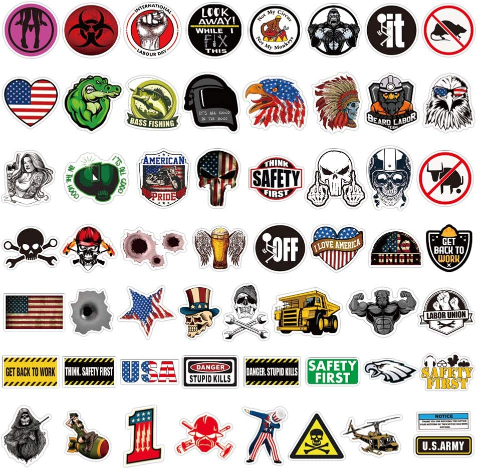 Hard Hat Stickers Pack, 100Pcs Waterproof Vinyl Sticker for Helmet, Tool Box, Thermos, Laptop, Funny Sticker Decals for Adults, Construction, Electrician, Mechanics, Union, Oilfield, Military, Welders
