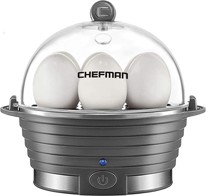 Chefman Electric Egg Cooker Boiler, Rapid Egg-Maker & Poacher, Food & Vegetable Steamer, Quickly Makes 6 Eggs, Hard, Medium or Soft Boiled, Poaching/Omelet Tray Included, Ready Signal, BPA-Free, Grey