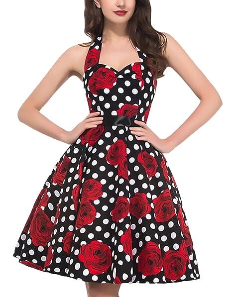 Mujer Vestidos Ceremonia Elegante Vintage 50S Halter Sin Tirantes Lindo Chic del Oscilación Línea A Medium Largos Lunares Vestido De Noche Impresión Floral ...