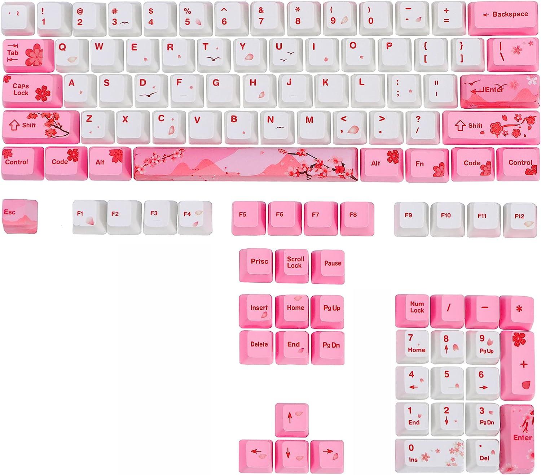 GTSP 104 Japanese Keycaps, Cute Anime Key caps 87 Custom Gaming keycap Set of Dye Sublimation OEM Profile for Cherry Mx Gateron Kailh Switch, for GK61/GK64/RK61/Anne 60% Mechanical Keyboard (Sakura)