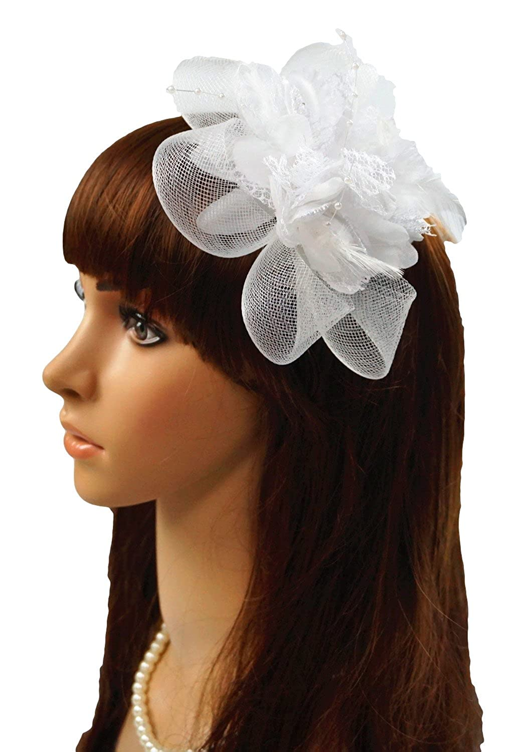 Aini prom Women's Fascinators Flowers side clamp Feather Ascot Fascinator Hat Hairclip Aini -1