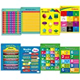 """8 LAMINATED Educational Posters for Toddlers ,17"""" X 22"""", Includes: Alphabet, Shapes, Colors, Numbers 1-100, Numbers 1-10, Multiplication Table, Days of the Week, Months of the Year"""