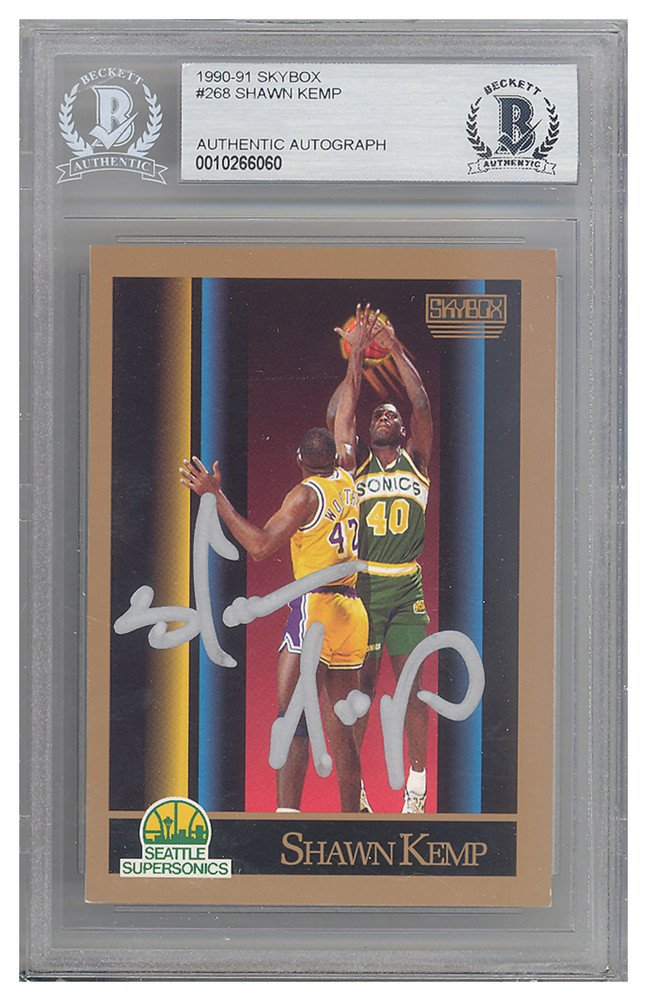 c7732515558b7 Shawn Kemp Autographed Signed 1990-91 Skybox Rookie Card #268 ...