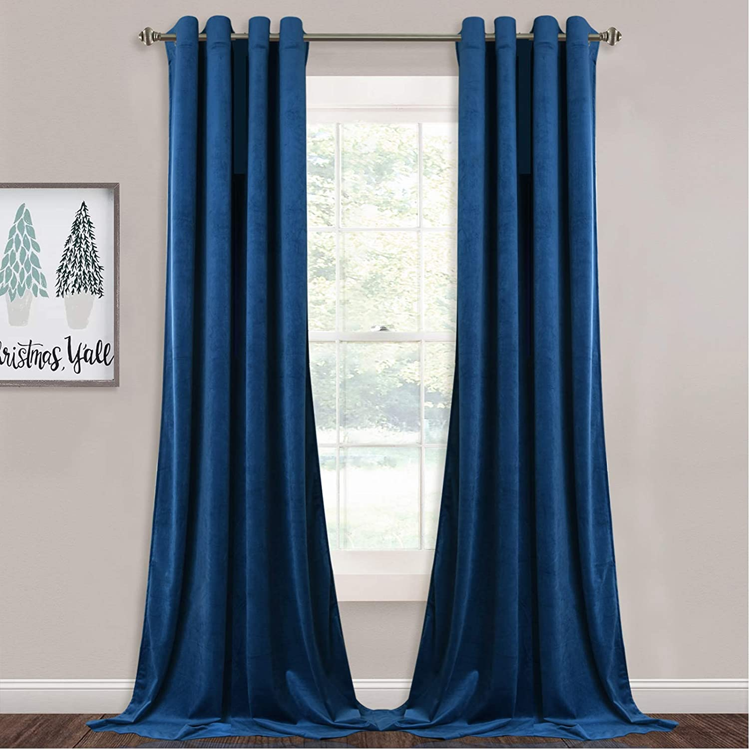 """StangH Blue Velvet Curtains - Blackout Warm Soft Velvet Curtains Thermal Insulated Privacy Panels for French Door / Parlor, Royal Blue, W52 x L96 inches, 2 Panels W52"""" x L96"""" Royal Blue"""
