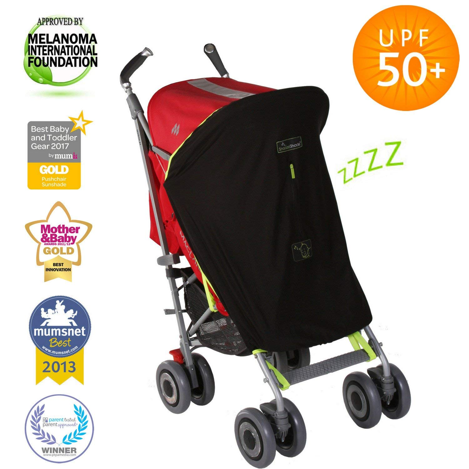Stroller Cover | Baby Sun Shade and Blackout Blind for Strollers | Stops 99% of The Sun's Rays (UPF50+) | Breathable and Universal fit | SnoozeShade Original - Best-Selling Safety Green Trim