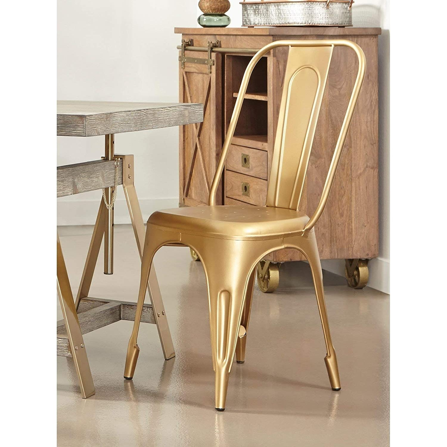 Amazon com somette pearman gold metal chairs set of 2 kitchen dining