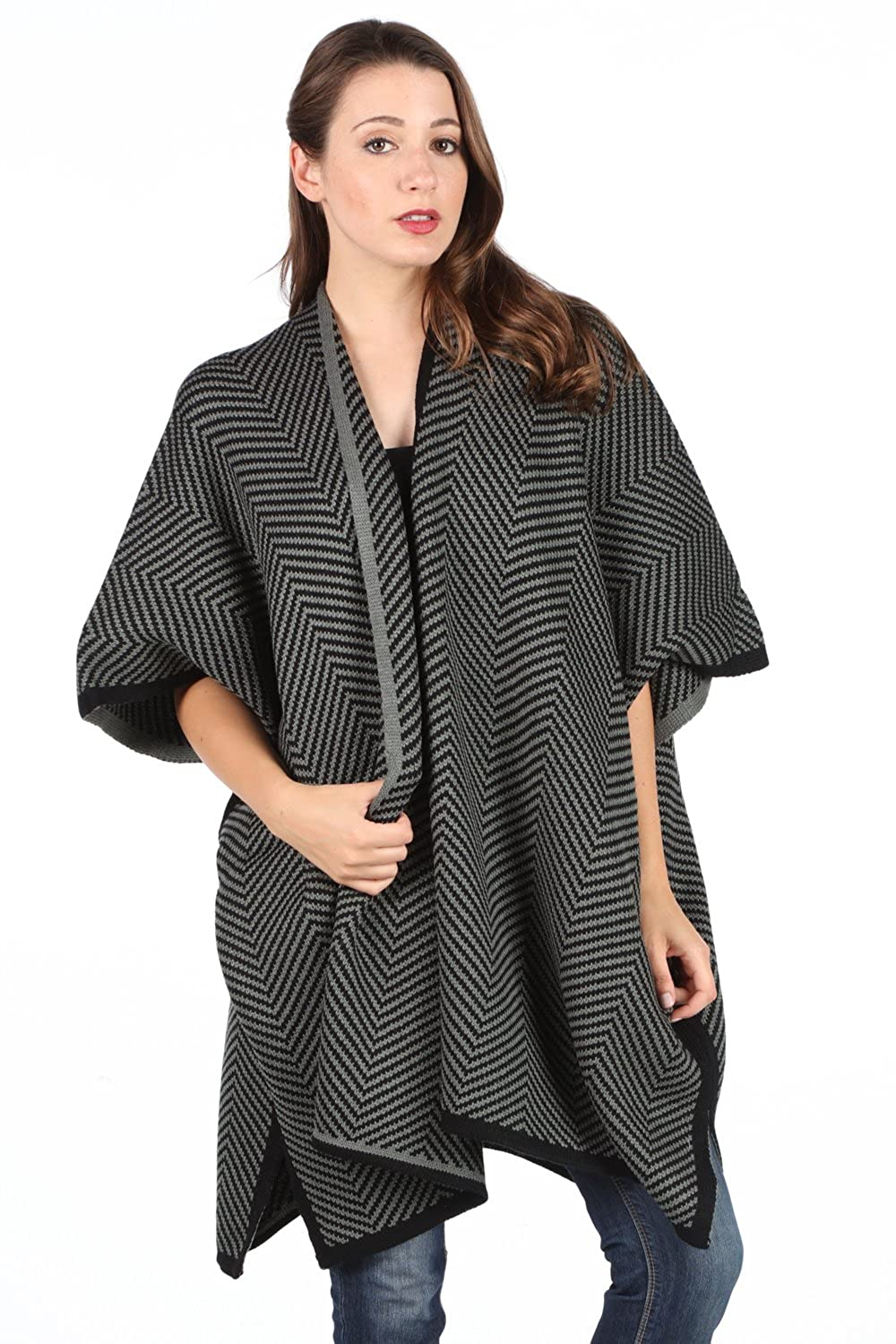 Chevron Effect Knit Cardigan poncho. (ONE SIZE, BLACK)