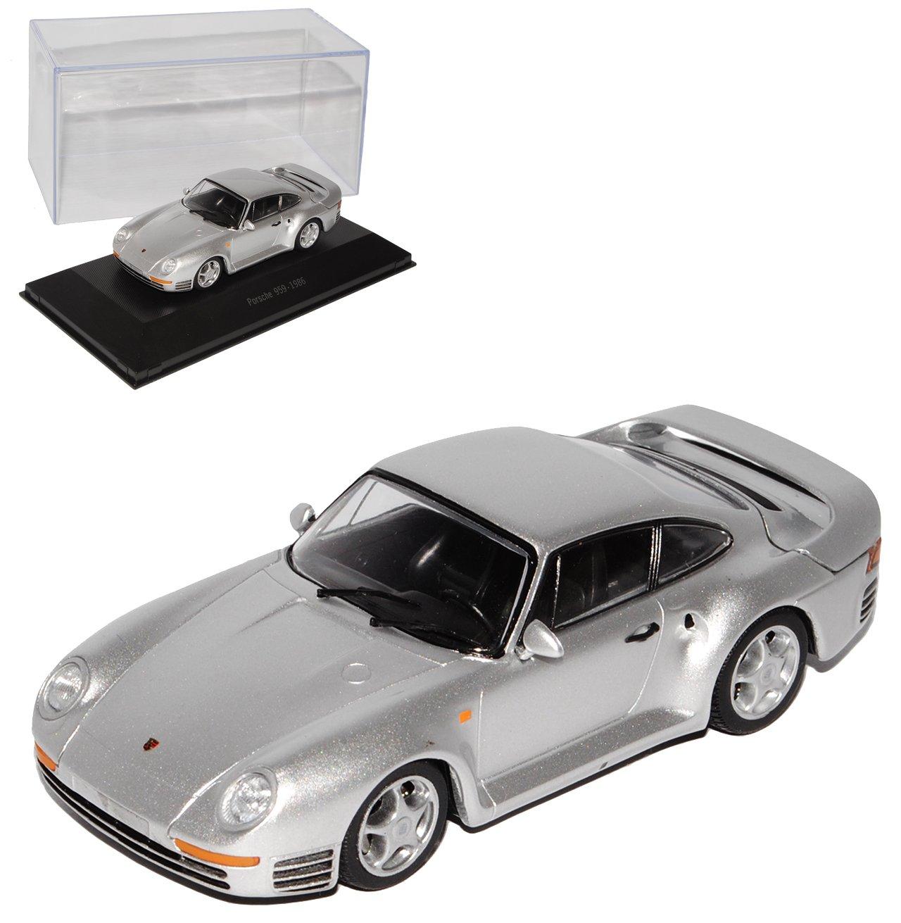 Atlas Porsche 959 Coupe Silber 1986-1988 1/43 Modell Auto
