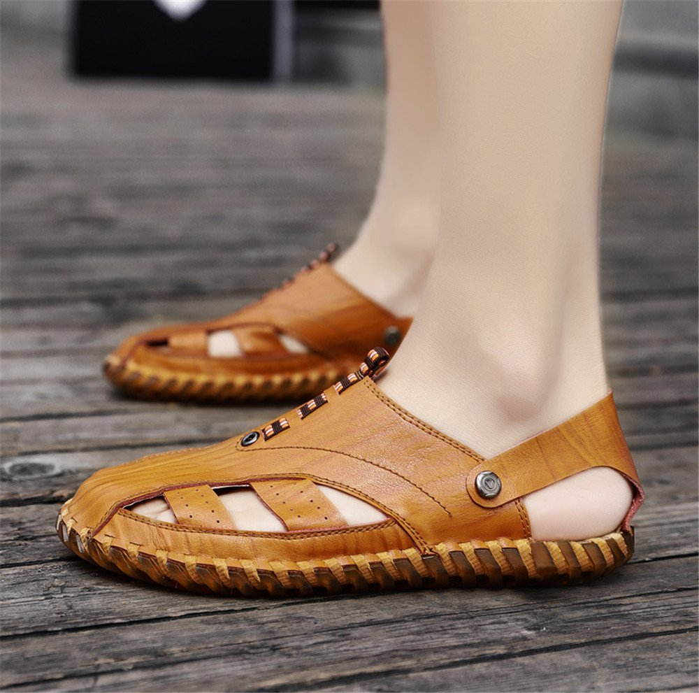Qingqing Mens Fisherman Sandals Leather Breathable Sandal Non-Slip Adjustable Summer Beach Wear Slippers Mens Leather Sandals Closed Sweat-Absorbent Breath Shoes Color : Brown, Size : 8.5UK