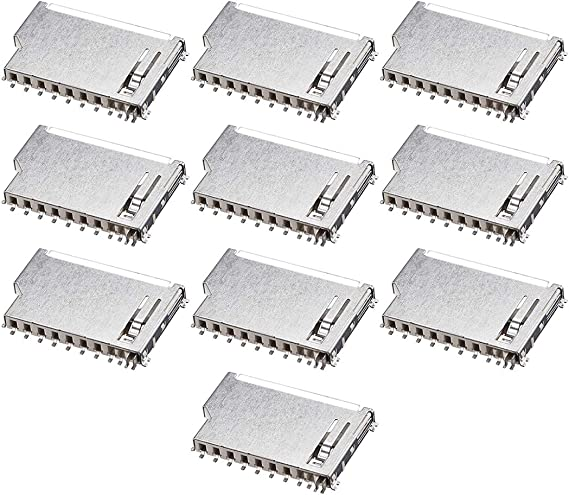 sourcing map Tarjeta de Memoria SD z/ócalo Corto Cuerpo 11 Pin PCB de Montar Conector 10pcs