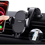 【Strong Suction】 Phone Car Holder【4 in 1】 Car Phone Holder Mount for Dashboard & Windshield Universal iPhone Car Holder…
