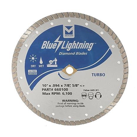 "Mercer Industries 660100 blue Lightning Turbo Diamond Blade, 10"" x .094 x 7"