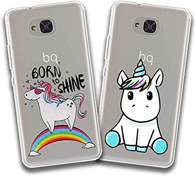 jrester 2 X Funda BQ Aquaris U2,Born to Shine + Unicornio Azul ...