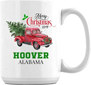 Merry Christmas White Coffee Mug With Hoover Alabama US All State Christmas Gifts 2019 for Family Cup Mug Unique Xmas Festival Gifts Noel Holiday Decoration Ceramic 15oz